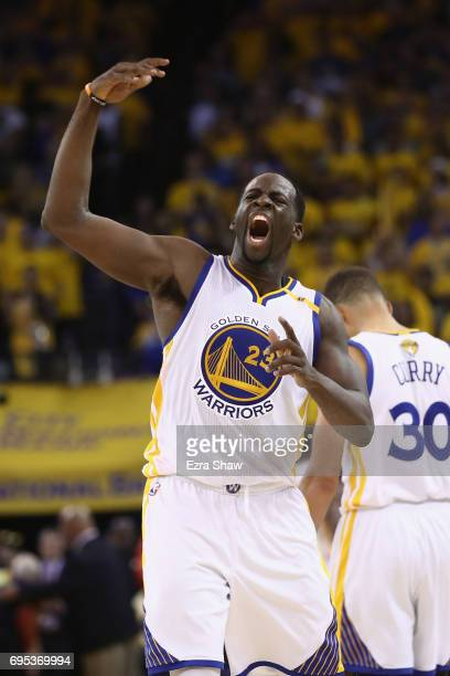 Draymond Green of the Golden State Warriors celebrates in the final moments of their 129120 win over the Cleveland Cavaliers in Game 5 of the 2017...