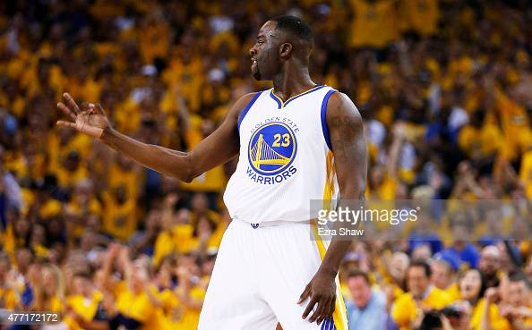 Draymond Green of the Golden State Warriors celebrates in the first quarter against the Cleveland Cavaliers during Game Five of the 2015 NBA Finals...