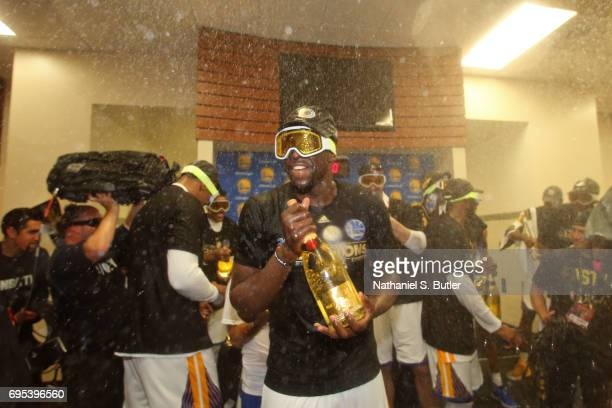 Draymond Green of the Golden State Warriors celebrates in the locker room after winning the NBA Championsip in Game Five of the 2017 NBA Finals...