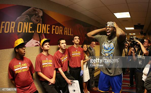 Draymond Green of the Golden State Warriors celebrates their win over the Cleveland Cavaliers in Game Six of the 2015 NBA Finals at Quicken Loans...