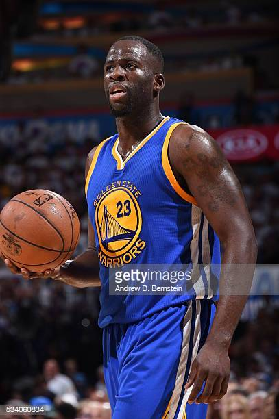 Draymond Green of the Golden State Warriors defends the ball against the Oklahoma City Thunder during Game Four of the Western Conference Finals...