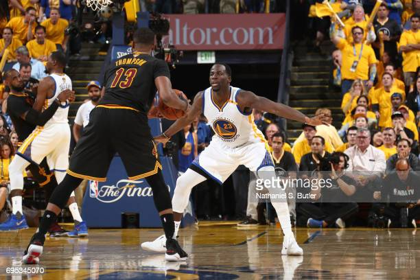 Draymond Green of the Golden State Warriors defends Tristan Thompson of the Cleveland Cavaliers in Game Five of the 2017 NBA Finals on June 12 2017...