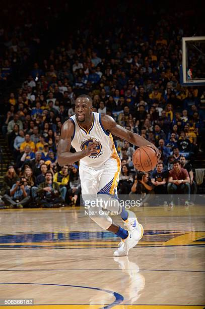 Draymond Green of the Golden State Warriors dribbles the ball against the Indiana Pacers on January 22 2016 at Oracle Arena in Oakland California...