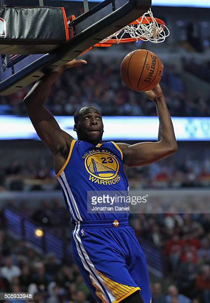 Draymond Green of the Golden State Warriors dunks against the Chicago Bulls at the United Center on January 20 2016 in Chicago Illinois NOTE TO USER...