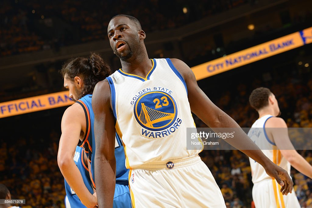 <a gi-track='captionPersonalityLinkClicked' href=/galleries/search?phrase=Draymond+Green&family=editorial&specificpeople=5628054 ng-click='$event.stopPropagation()'>Draymond Green</a> #23 of the Golden State Warriors during Game Five of the Western Conference Finals against the Oklahoma City Thunder during the 2016 NBA Playoffs on May 26, 2016 at ORACLE Arena in Oakland, California.