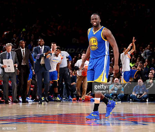 Draymond Green of the Golden State Warriors during the game against the New York Knicks on January 31 2016 at Madison Square Garden in New York City...