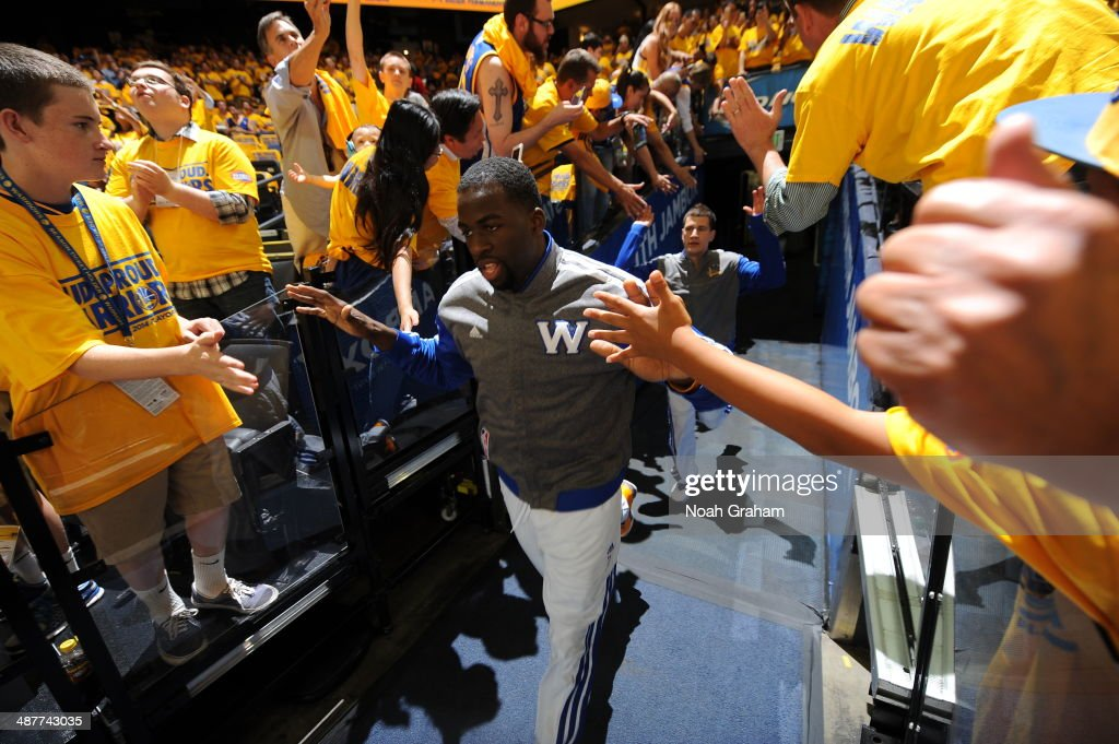 Draymond Green #23 of the Golden State Warriors enters the arena before a game against the Los Angeles Clippers in Game Six of the Western Conference Quarterfinals during the NBA Playoffs at Oracle Arena on May 1, 2014 in Oakland, California.