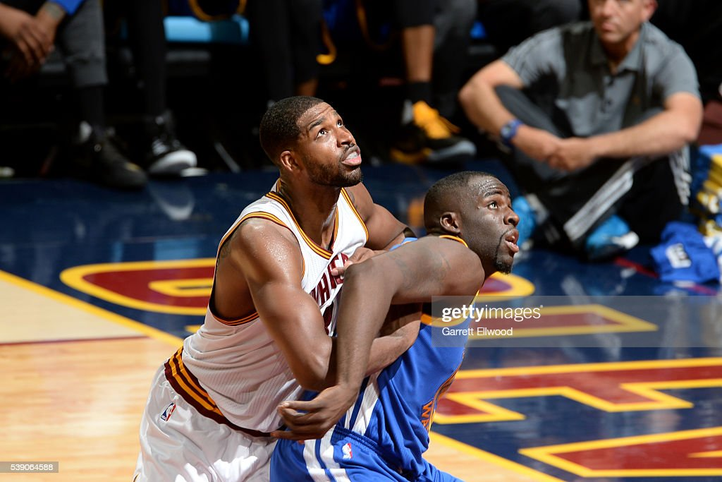 Draymond Green #23 of the Golden State Warriors fights for position against Tristan Thompson #13 of the Cleveland Cavaliers during the 2016 NBA Finals Game Three on June 8, 2016 at Quicken Loans Arena in Cleveland, Ohio.