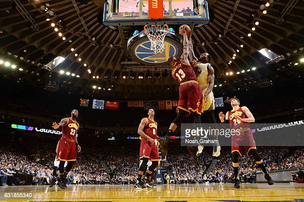 Draymond Green of the Golden State Warriors goes for the dunk but gets blocked by Tristan Thompson of the Cleveland Cavaliers on January 16 2017 at...