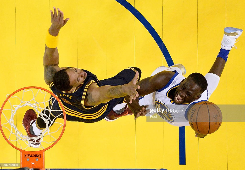 Draymond Green #23 of the Golden State Warriors goes up for a shot against Channing Frye #9 of the Cleveland Cavaliers in Game 1 of the 2016 NBA Finals at ORACLE Arena on June 2, 2016 in Oakland, California.