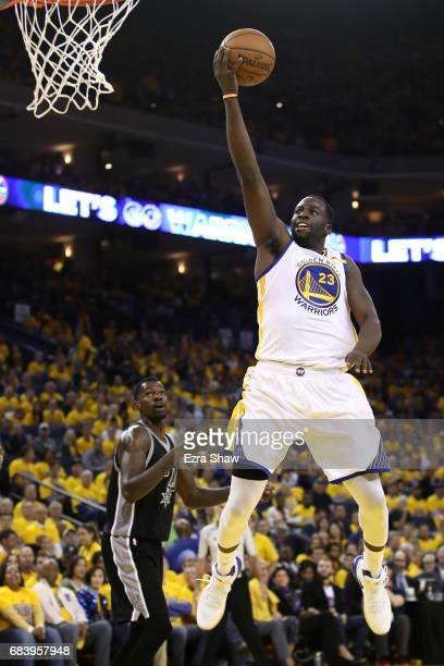 Draymond Green of the Golden State Warriors goes up for a shot against the San Antonio Spurs during Game Two of the NBA Western Conference Finals at...