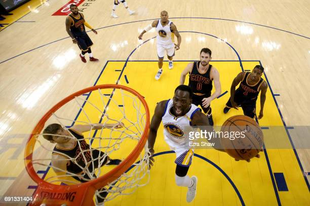 Draymond Green of the Golden State Warriors goes up for a shot against the Cleveland Cavaliers in Game 1 of the 2017 NBA Finals at ORACLE Arena on...
