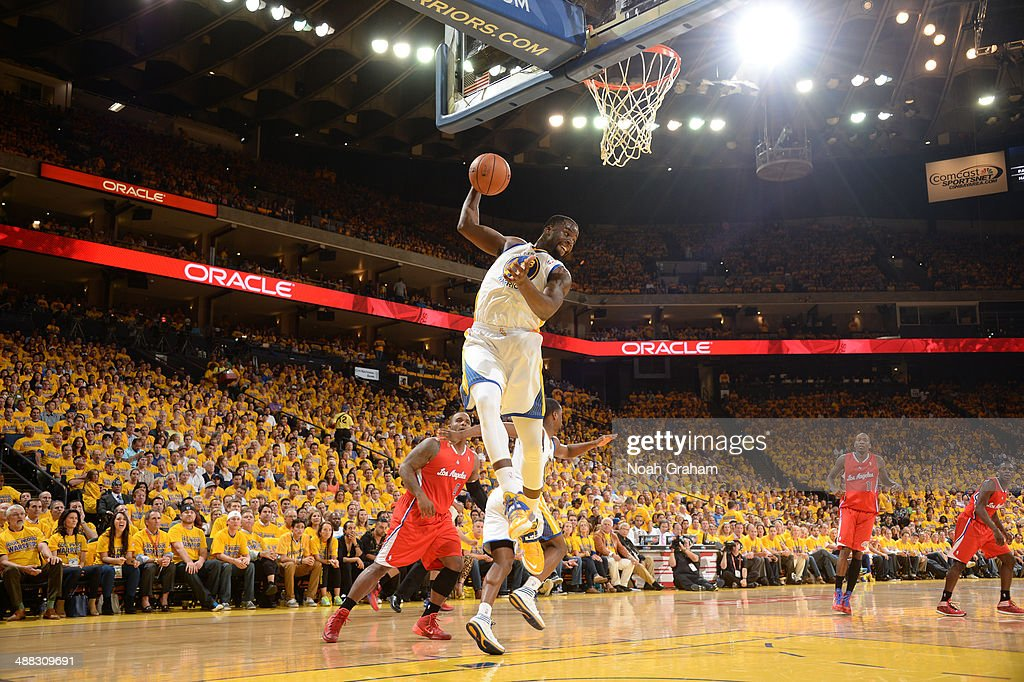 Draymond Green #23 of the Golden State Warriors grabs a rebound during Game Six of the Western Conference Quarterfinals against the Los Angeles Clippers at Oracle Arena on May 1, 2014 in Oakland, California.