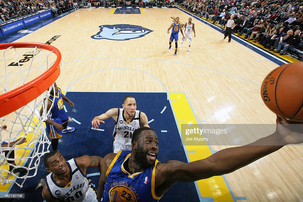 <a gi-track='captionPersonalityLinkClicked' href=/galleries/search?phrase=Draymond+Green&family=editorial&specificpeople=5628054 ng-click='$event.stopPropagation()'>Draymond Green</a> #23 of the Golden State Warriors grabs the rebound against the Memphis Grizzlies on February 8, 2013 at FedExForum in Memphis, Tennessee.
