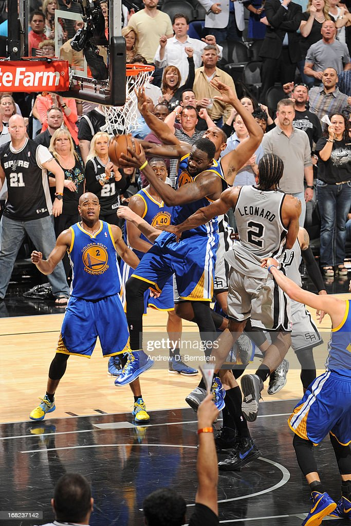 Draymond Green #23 of the Golden State Warriors grabs the rebound against the San Antonio Spurs in Game One of the Western Conference Semifinals during the 2013 NBA Playoffs on May 6, 2013 at the AT&T Center in San Antonio, Texas.