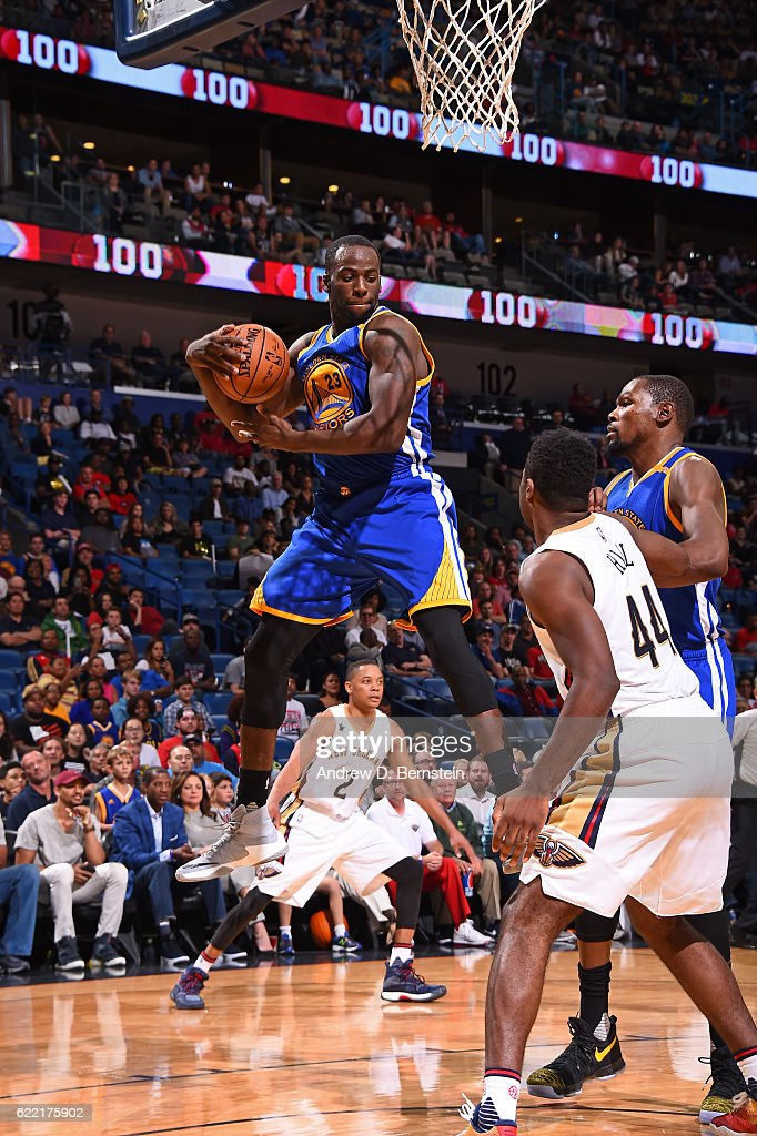 Draymond Green #23 of the Golden State Warriors grabs the rebound during a game against the New Orleans Pelicans at Smoothie King Center on October 28, 2016 in New Orleans, Louisiana.