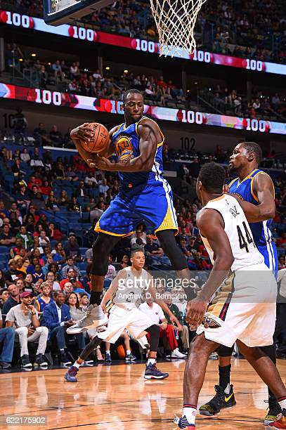 Draymond Green of the Golden State Warriors grabs the rebound during a game against the New Orleans Pelicans at Smoothie King Center on October 28...