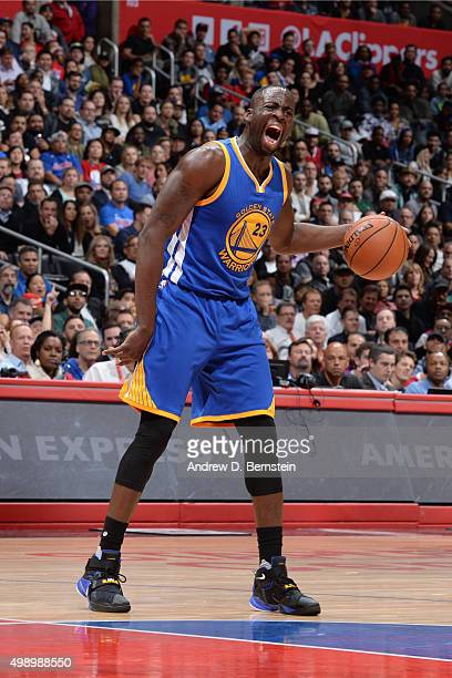 Draymond Green of the Golden State Warriors handles the ball against the Los Angeles Clippers on November 19 2015 at STAPLES Center in Los Angeles...