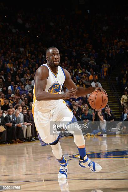 Draymond Green of the Golden State Warriors handles the ball against the Los Angeles Lakerson January 14 2016 at ORACLE Arena in Oakland California...