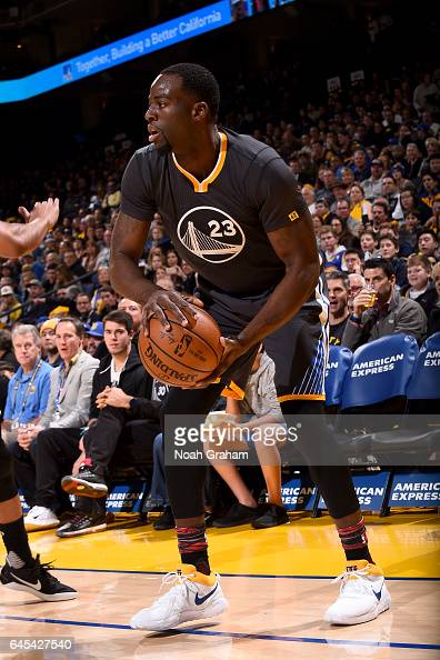 Draymond Green of the Golden State Warriors handles the ball against the Brooklyn Nets on February 25 2017 at ORACLE Arena in Oakland California NOTE...