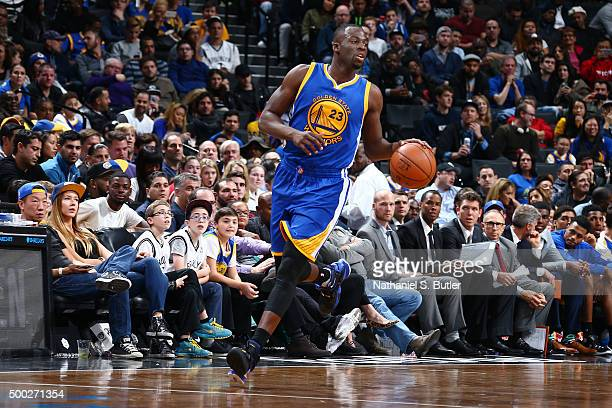 Draymond Green of the Golden State Warriors handles the ball during the game against the Brooklyn Nets on December 6 2015 at Barclays Center in...