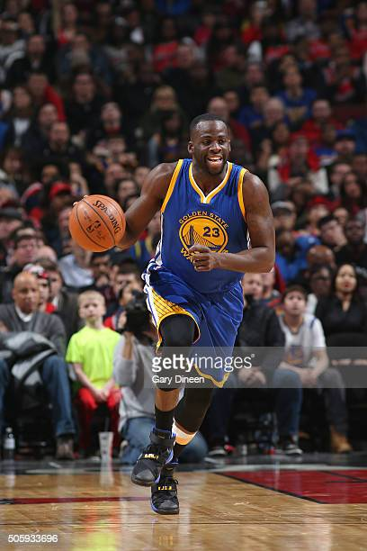 Draymond Green of the Golden State Warriors handles the ball during the game against the Chicago Bulls on January 20 2016 at the United Center in...