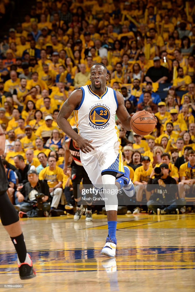 Draymond Green #23 of the Golden State Warriors handles the ball during the game against the Portland Trail Blazers in Game One of the Western Conference Semifinals during the 2016 NBA Playoffs on May 1, 2016 at ORACLE Arena in Oakland, California.