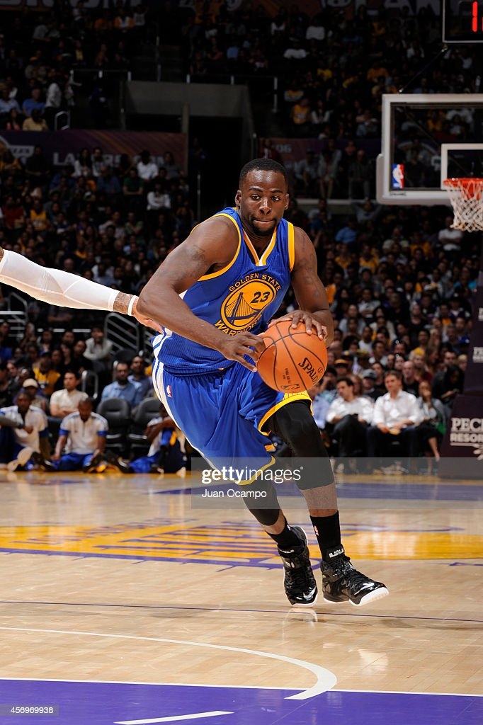 Draymond Green #23 of the Golden State Warriors handles the basketball during a game against the Los Angeles Lakers on October 9, 2014 at the Staples Center in Los Angeles, California.