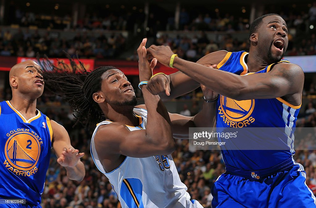Draymond Green #23 of the Golden State Warriors is called for a flagrant foul type one as he collides with Kenneth Faried #35 of the Denver Nuggets during Game Five of the Western Conference Quarterfinals of the 2013 NBA Playoffs at the Pepsi Center on April 30, 2013 in Denver, Colorado. The Nuggets defeated the Warriors 107-100.