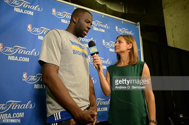 Draymond Green of the Golden State Warriors is interviewed by ABC News Paula Faris prior to the 2015 NBA Finals against the Cleveland Cavaliers on...