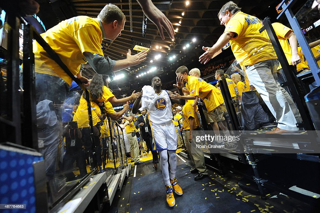 Draymond Green #23 of the Golden State Warriors leaves the arena after winning against the Los Angeles Clippers in Game Six of the Western Conference Quarterfinals during the NBA Playoffs at Oracle Arena on May 1, 2014 in Oakland, California.