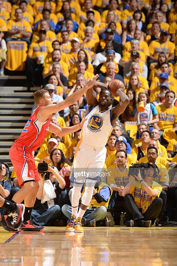 Draymond Green #23 of the Golden State Warriors passes the ball against the Los Angeles Clippers in Game Six of the Western Conference Quarterfinals during the NBA Playoffs at Oracle Arena on May 1, 2014 in Oakland, California.