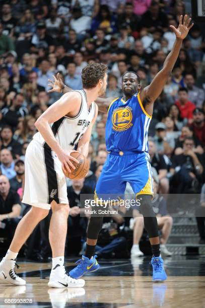Draymond Green of the Golden State Warriors plays defense against Pau Gasol of the San Antonio Spurs during Game Four of the Western Conference...