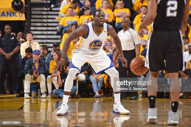 Draymond Green of the Golden State Warriors plays defense against the San Antonio Spurs in Game One of the Western Conference Finals during the 2017...