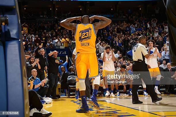 Draymond Green of the Golden State Warriors poses after scoring against the Atlanta Hawks on March 1 2016 at Oracle Arena in Oakland California NOTE...