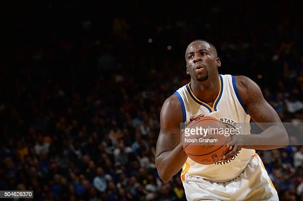 Draymond Green of the Golden State Warriors prepares to shoot a free throw against the Miami Heat on January 11 2016 at Oracle Arena in Oakland...