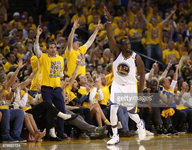 Draymond Green of the Golden State Warriors reacts after a basket against the Utah Jazz during Game One of the NBA Western Conference SemiFinals at...