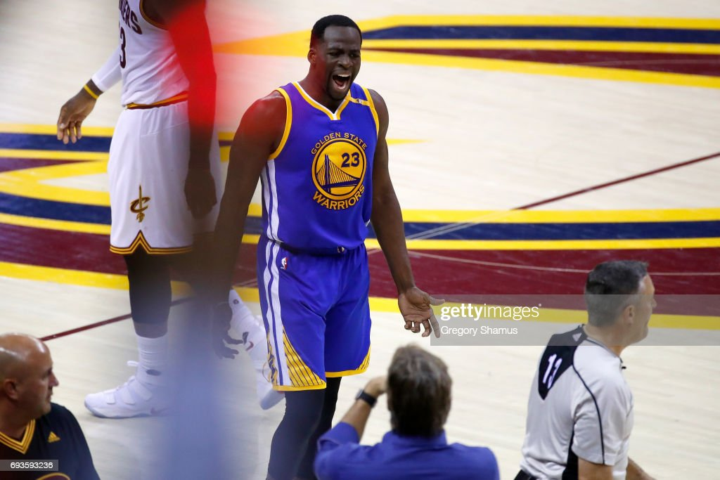 Draymond Green #23 of the Golden State Warriors reacts after a play in the first half against the Cleveland Cavaliers in Game 3 of the 2017 NBA Finals at Quicken Loans Arena on June 7, 2017 in Cleveland, Ohio.
