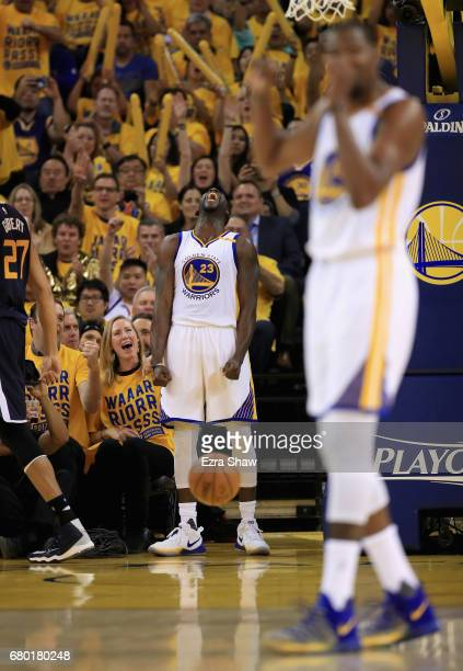 Draymond Green of the Golden State Warriors reacts after making a basket against the Utah Jazz during Game Two of the Western Conference Semifinals...