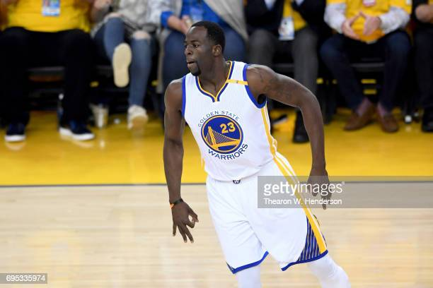 Draymond Green of the Golden State Warriors reacts after making a threepoint basket against the Cleveland Cavaliers in Game 5 of the 2017 NBA Finals...