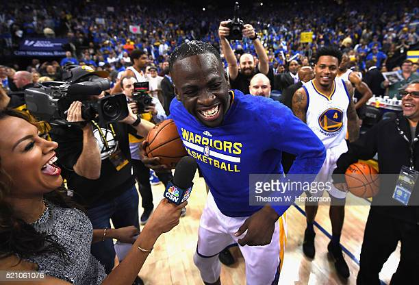 Draymond Green of the Golden State Warriors reacts after the Warriors defeated the Memphis Grizzlies 125104 at ORACLE Arena on April 13 2016 in...