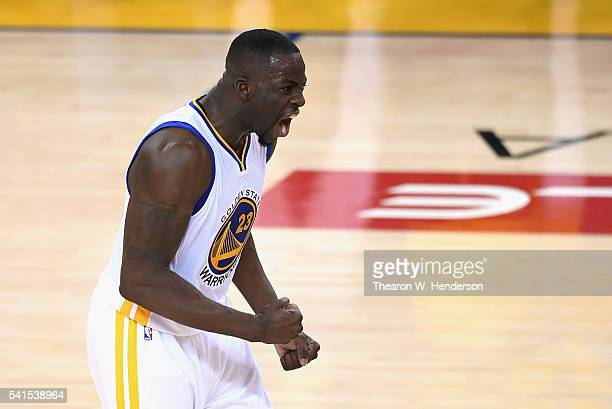 Draymond Green of the Golden State Warriors reacts against the Cleveland Cavaliers in Game 7 of the 2016 NBA Finals at ORACLE Arena on June 19 2016...