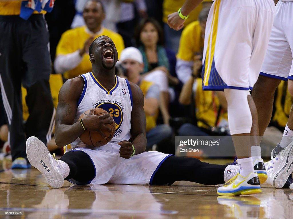 <a gi-track='captionPersonalityLinkClicked' href=/galleries/search?phrase=Draymond+Green&family=editorial&specificpeople=5628054 ng-click='$event.stopPropagation()'>Draymond Green</a> #23 of the Golden State Warriors reacts at the end of the third period of their game against the Denver Nuggets during Game Three of the Western Conference Quarterfinals of the 2013 NBA Playoffs at ORACLE Arena on April 26, 2013 in Oakland, California.