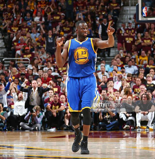 Draymond Green of the Golden State Warriors reacts during Game Four of the 2015 NBA Finals at The Quicken Loans Arena on June 11 2015 in Cleveland...