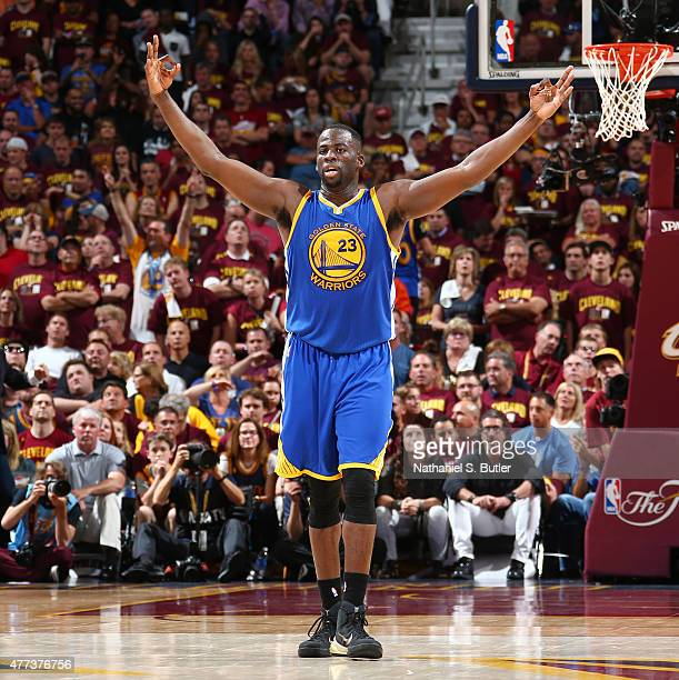 Draymond Green of the Golden State Warriors reacts during Game Six of the 2015 NBA Finals at The Quicken Loans Arena on June 16 2015 in Cleveland...