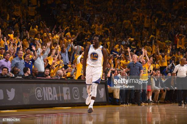 Draymond Green of the Golden State Warriors reacts during the game against the Utah Jazz in Game Two the Western Conference Semifinals of the 2017...