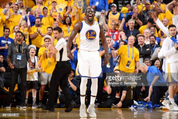 Draymond Green of the Golden State Warriors reacts during the game against the Cleveland Cavaliers during Game One of the 2017 NBA Finals at Oracle...