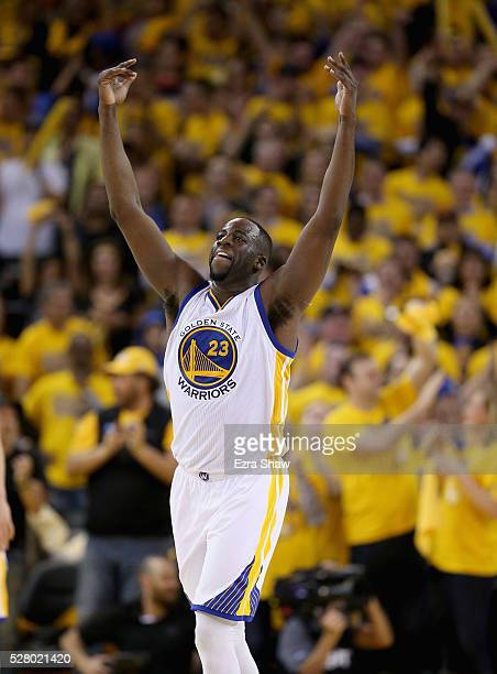 Draymond Green of the Golden State Warriors reacts during their game against the Portland Trail Blazers in Game Two of the Western Conference...
