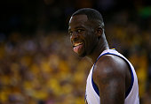 Draymond Green of the Golden State Warriors reacts in overtime against the Cleveland Cavaliers during Game One of the 2015 NBA Finals at ORACLE Arena...