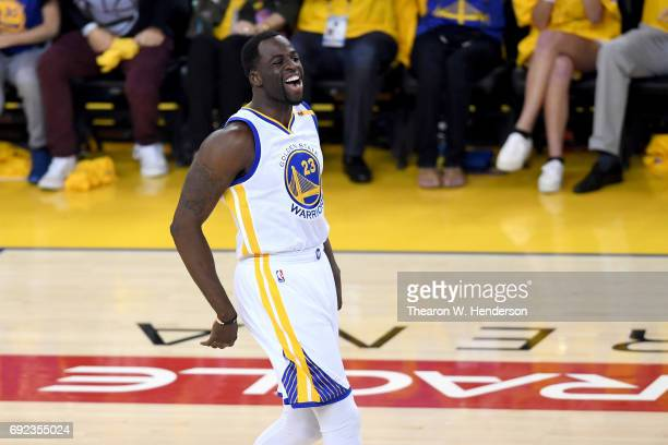 Draymond Green of the Golden State Warriors reacts to a play against the Cleveland Cavaliers in Game 2 of the 2017 NBA Finals at ORACLE Arena on June...